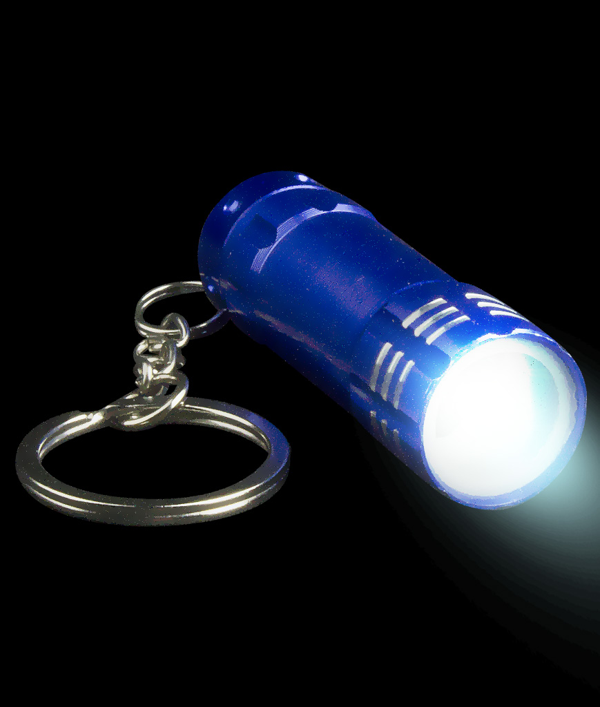 Mini Aluminum 3 LED Flashlight Key Chain- Blue