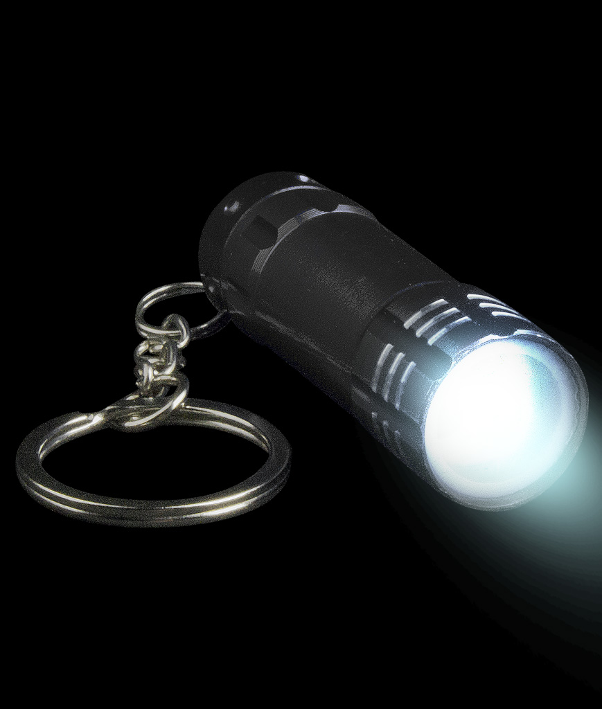 Mini Aluminum 3 LED Flashlight Key Chain- Black