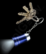 LED Mini Aluminum Flashlight Key Chain- Blue