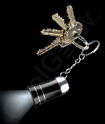 LED Mini Aluminum Flashlight Key Chain- Black