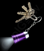 LED Mini Aluminum Flashlight Key Chain- Purple