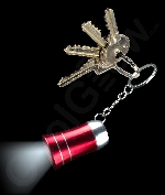 LED Mini Aluminum Flashlight Key Chain- Red