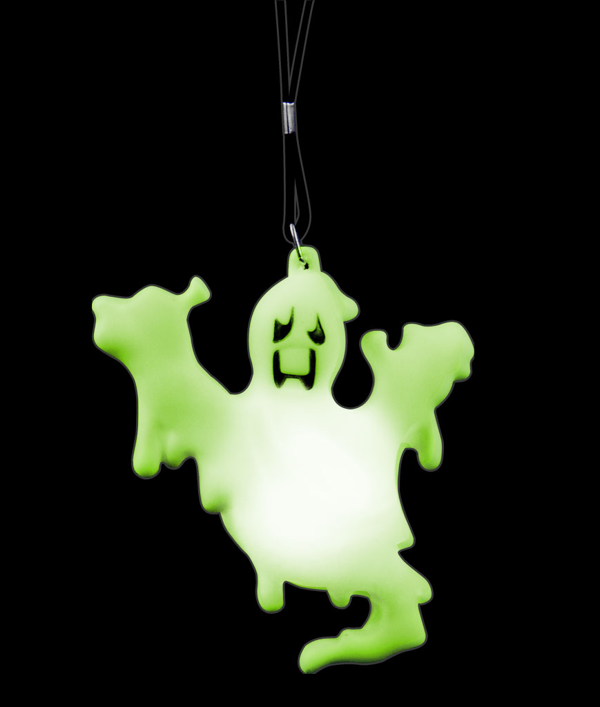 LED Ghost Necklace with Black Lanyard