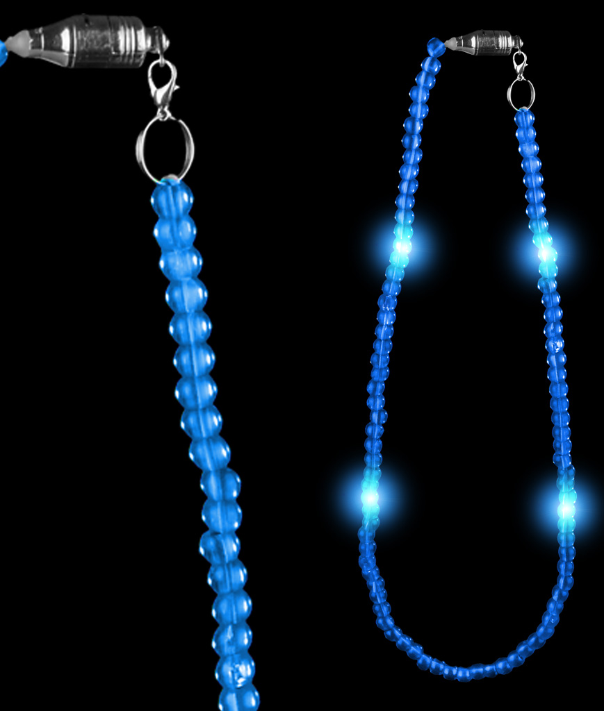 LED 25 Inch Bead Necklace - Blue