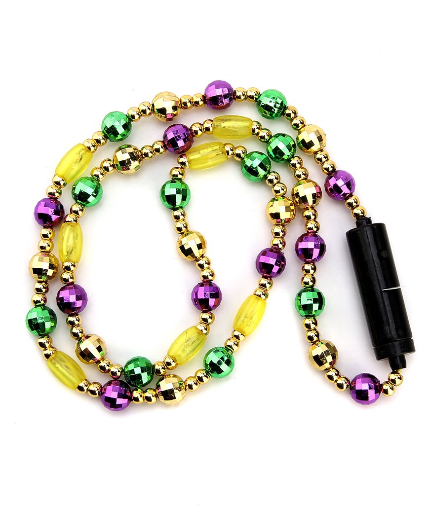 LED 34 Inch Mardi Gras Bead Necklace
