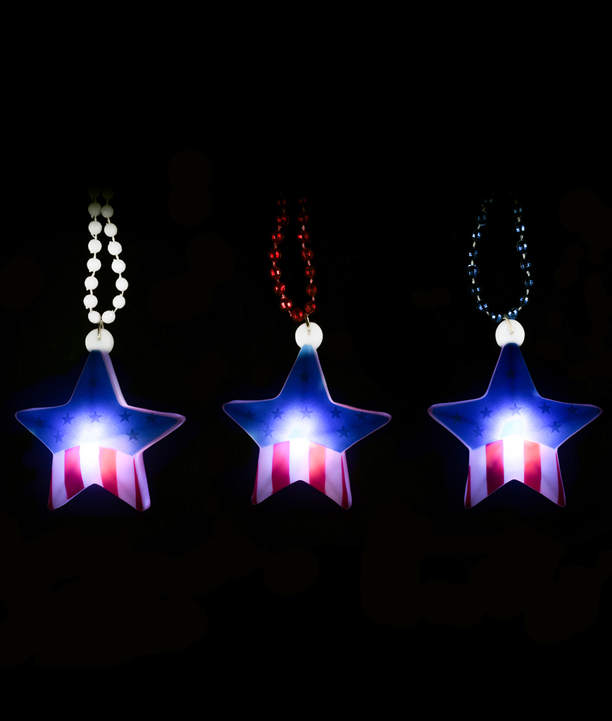 Fun Central BC595 LED Light Up Flag Star with Beads - Assorted