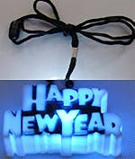 LED Happy New Year Necklace with Black Lanyard