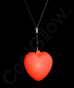 LED Heart Necklace with Black Lanyard