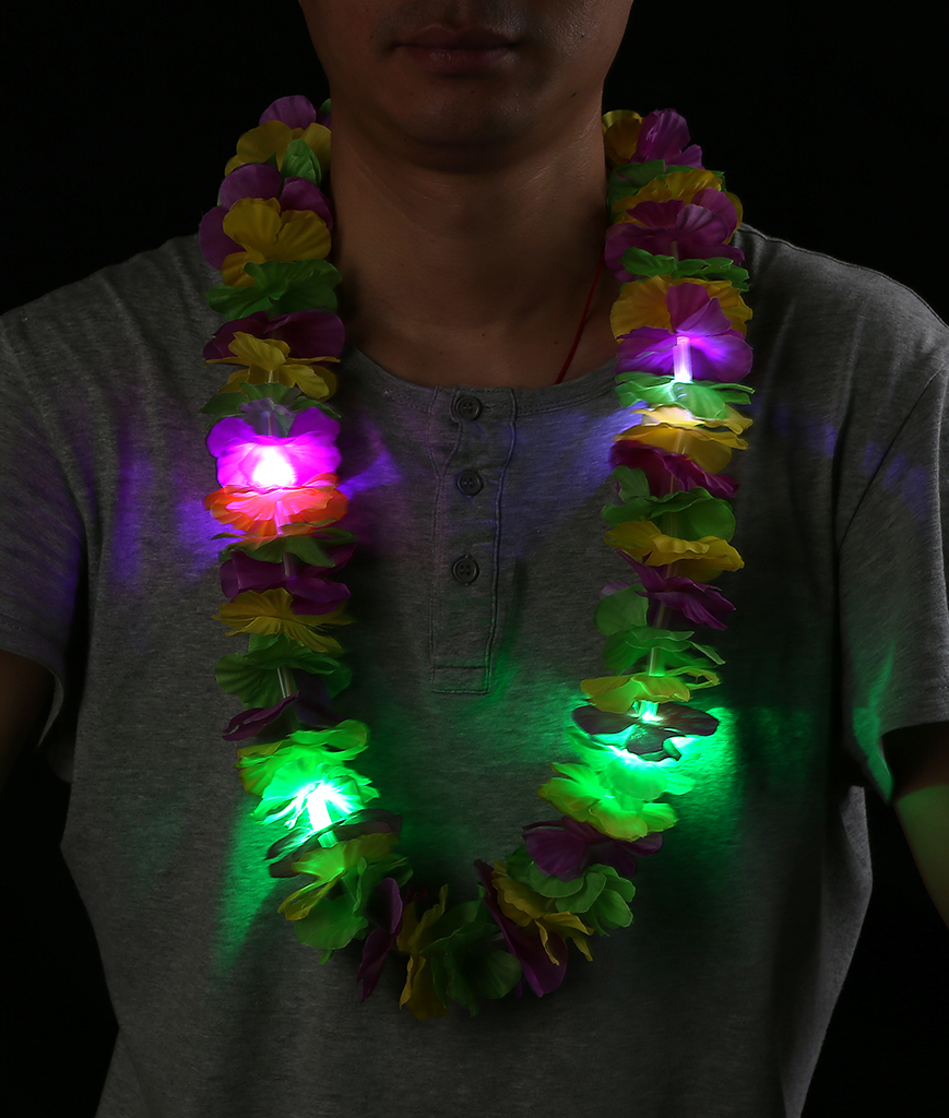 LED Mardi Gras Leis - Yellow Green Purple