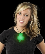 LED Shamrock Necklace with Black Lanyard
