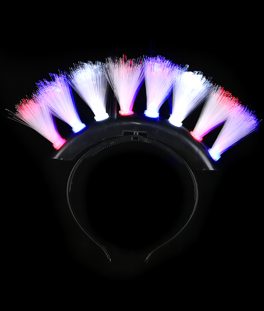 Fun Central T052 LED Light Up Fiber Optic Mohawk - Red-White-Blue