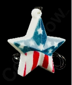 LED USA Star Necklace with Black Lanyard
