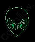 LED Sound Activated Patch - Alien Face
