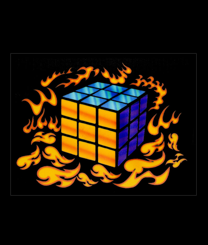 LED Sound Activated Patch-Flaming Rubiks Cube