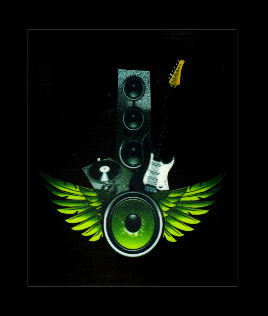 LED Sound Activated Patch- Guitar and Winged Speakers