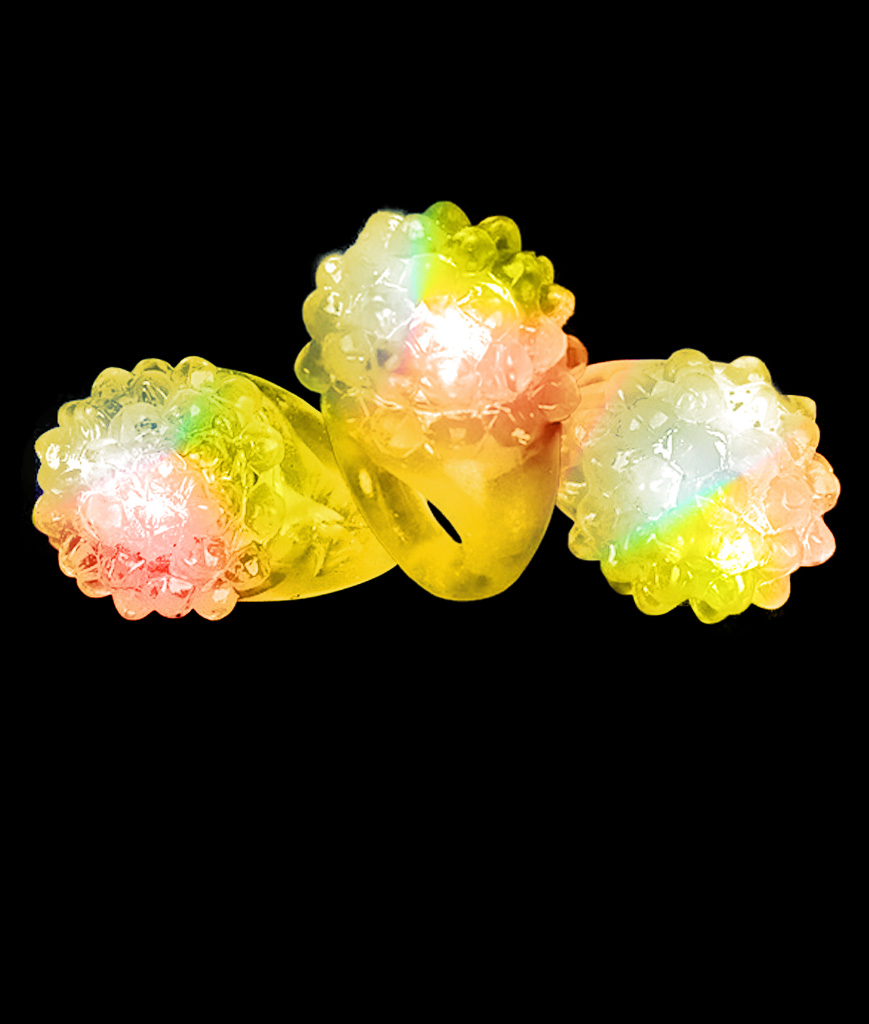 LED Jelly Bumpy Rings - Yellow