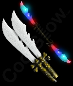 LED Double Pirate Sword with Skull Bones Handle