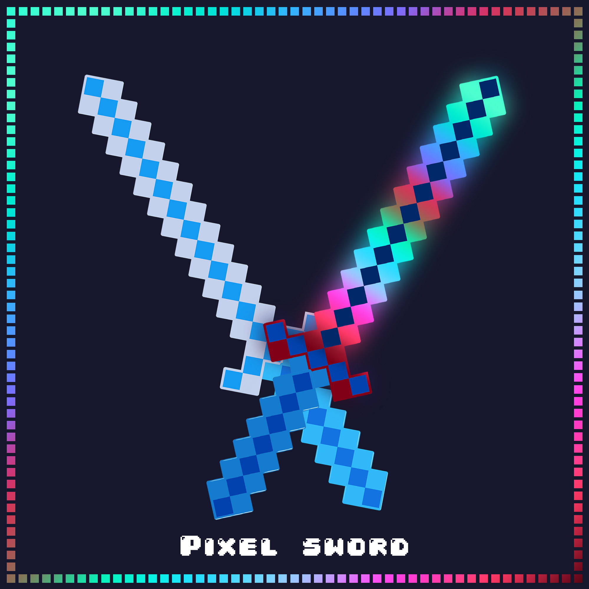 24 Inch Light Up Pixel Sword - Blue