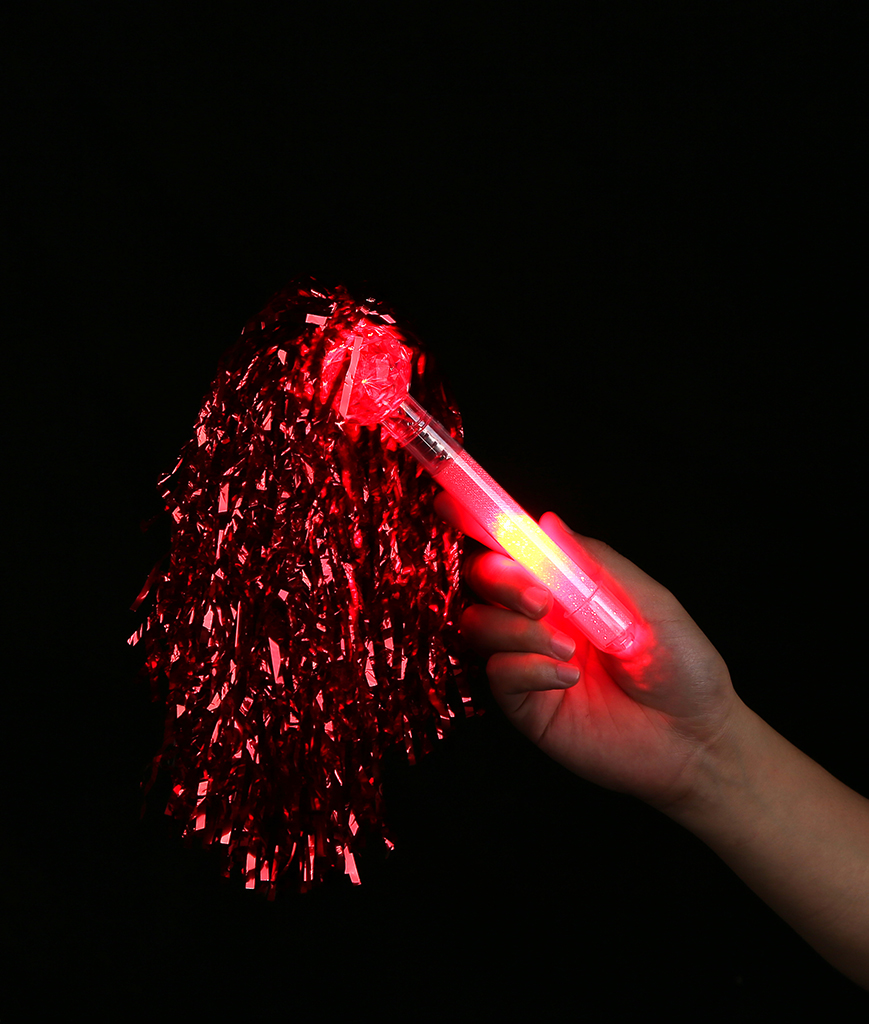 LED Metallic Pom Poms - Red