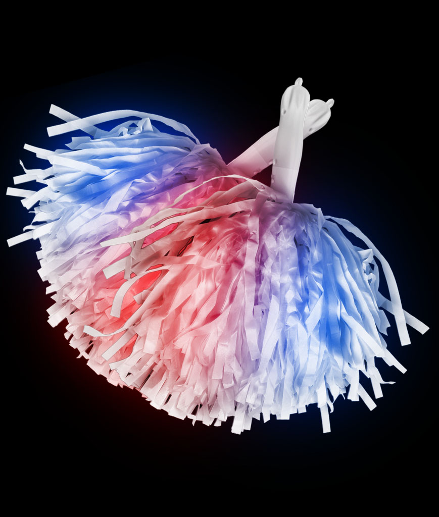 LED Pom Poms - Red and Blue Light