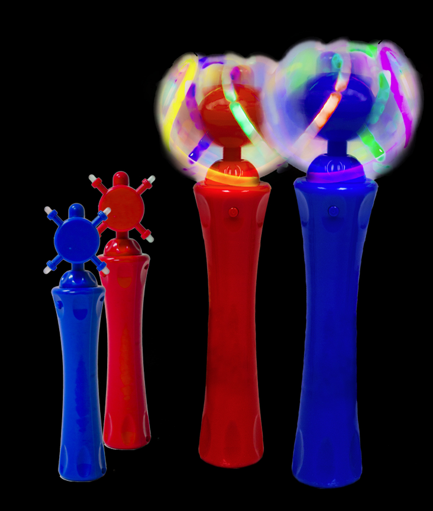 Fun Central AU264 LED Light Up Spinning Wand - Assorted 12ct