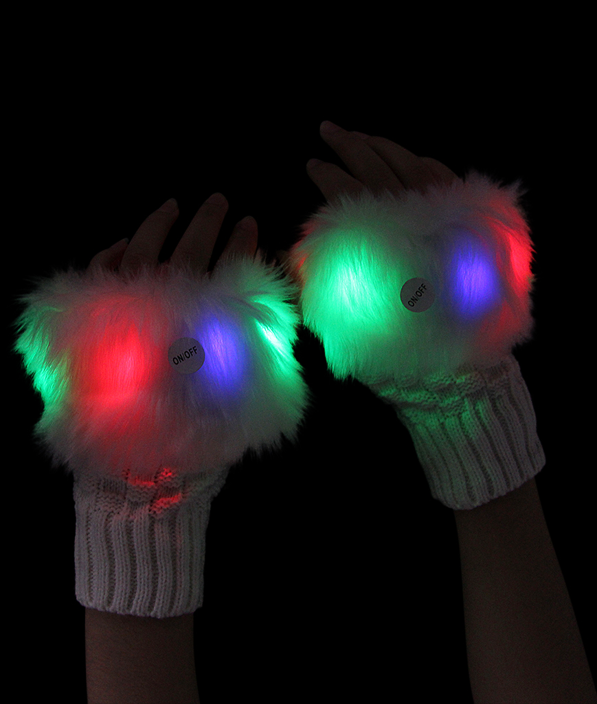 LED Furry Half Gloves