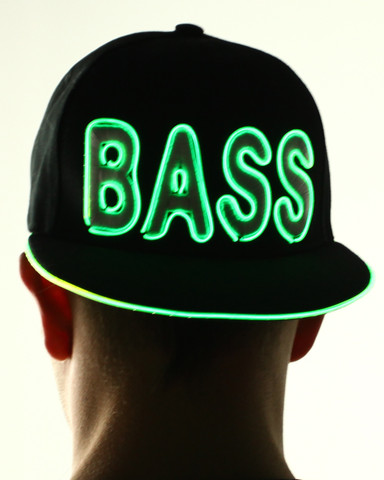 Light Up Snapback Hat - Bass - Green
