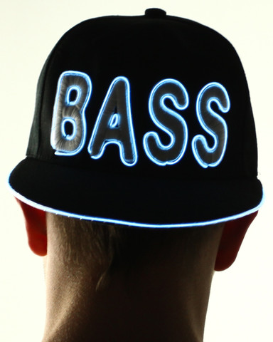 Light Up Snapback Hat - Bass - White