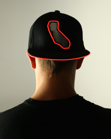 Light Up Snapback Hat - Cali State - Red