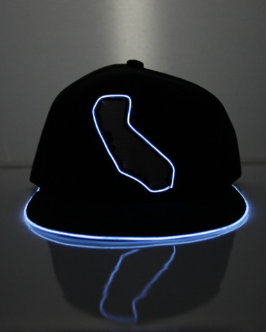 Light Up Snapback Hat - Cali State - White