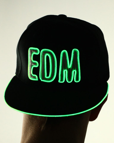 Light Up Snapback Hat - EDM - Green