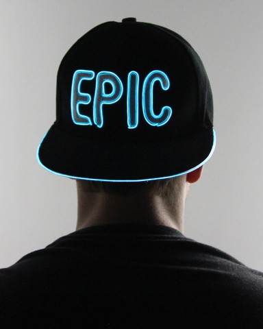 Light Up Snapback Hat - Epic - Aqua