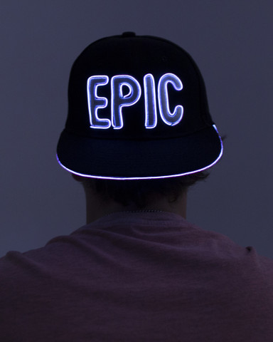 Light Up Snapback Hat - Epic - White