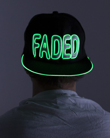 Light Up Snapback Hat - Faded - Green