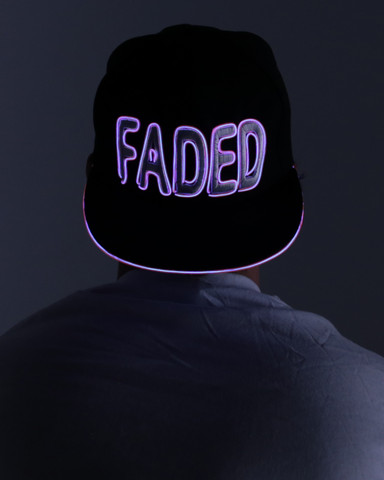 Light Up Snapback Hat - Faded - Pink