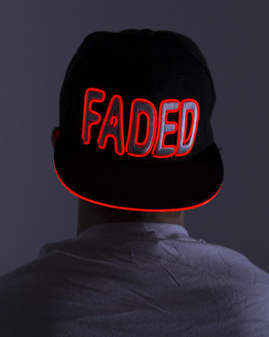 Light Up Snapback Hat - Faded - Red