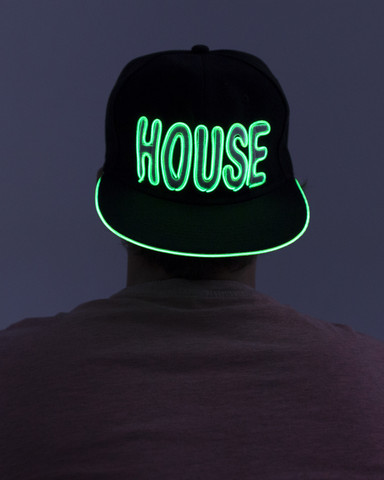 Light Up Snapback Hat - House - Green