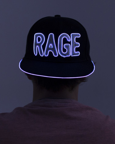 Light Up Snapback Hat - Rage - White