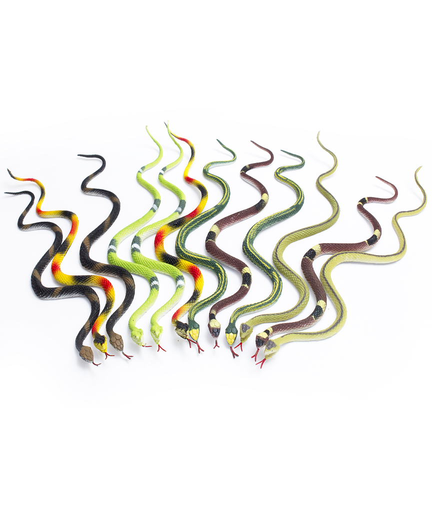 Fun Central AU077 14 Inch Rubber Snakes - Assorted 12ct