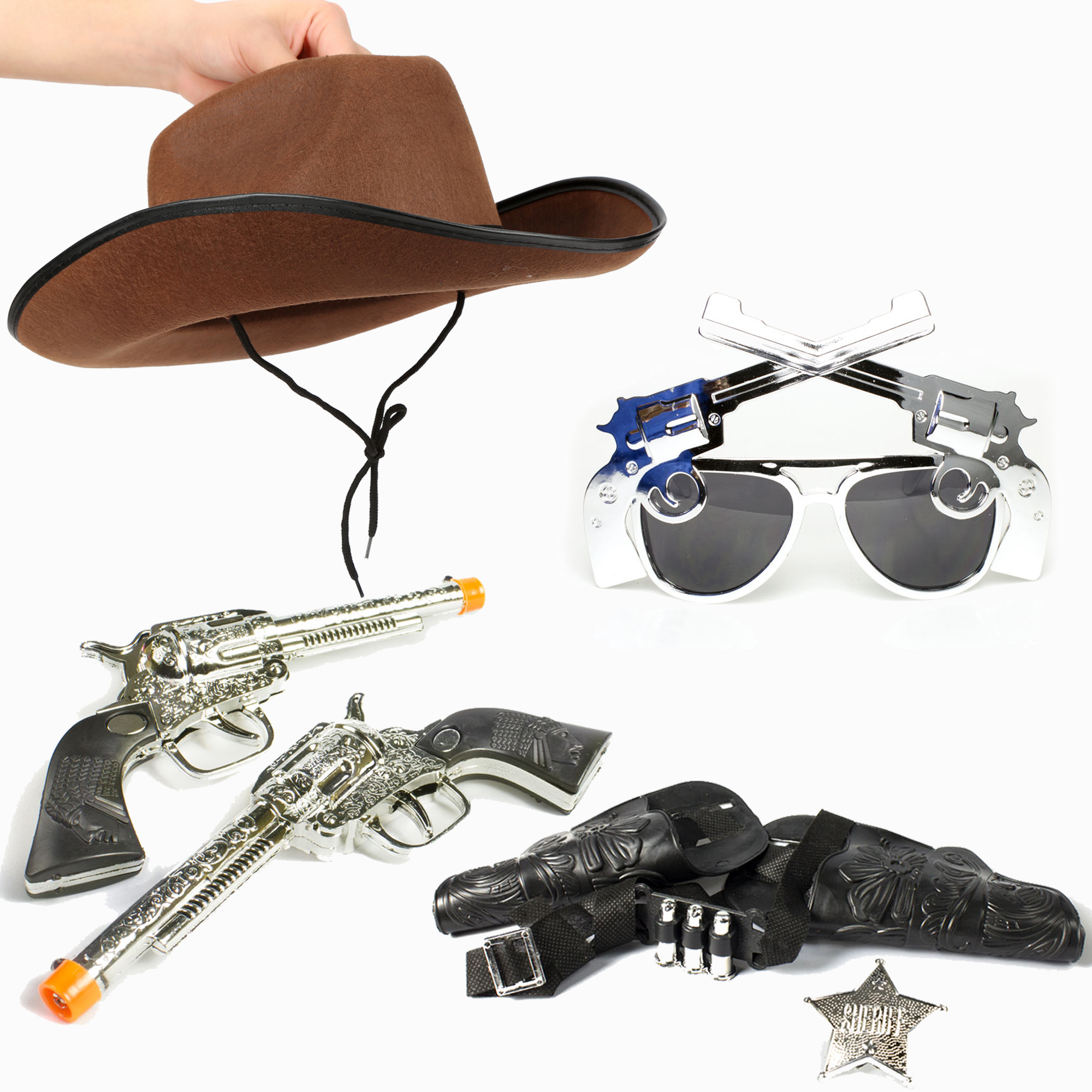 Cowboy set - cowboy hat Pistol Sunglasses Western Guns With Holsters Set