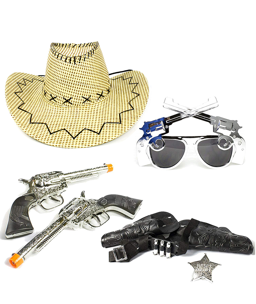Fun Central BC826 Cowboy set - cowboy hat Pistol Sunglasses Western Guns With Holsters Set