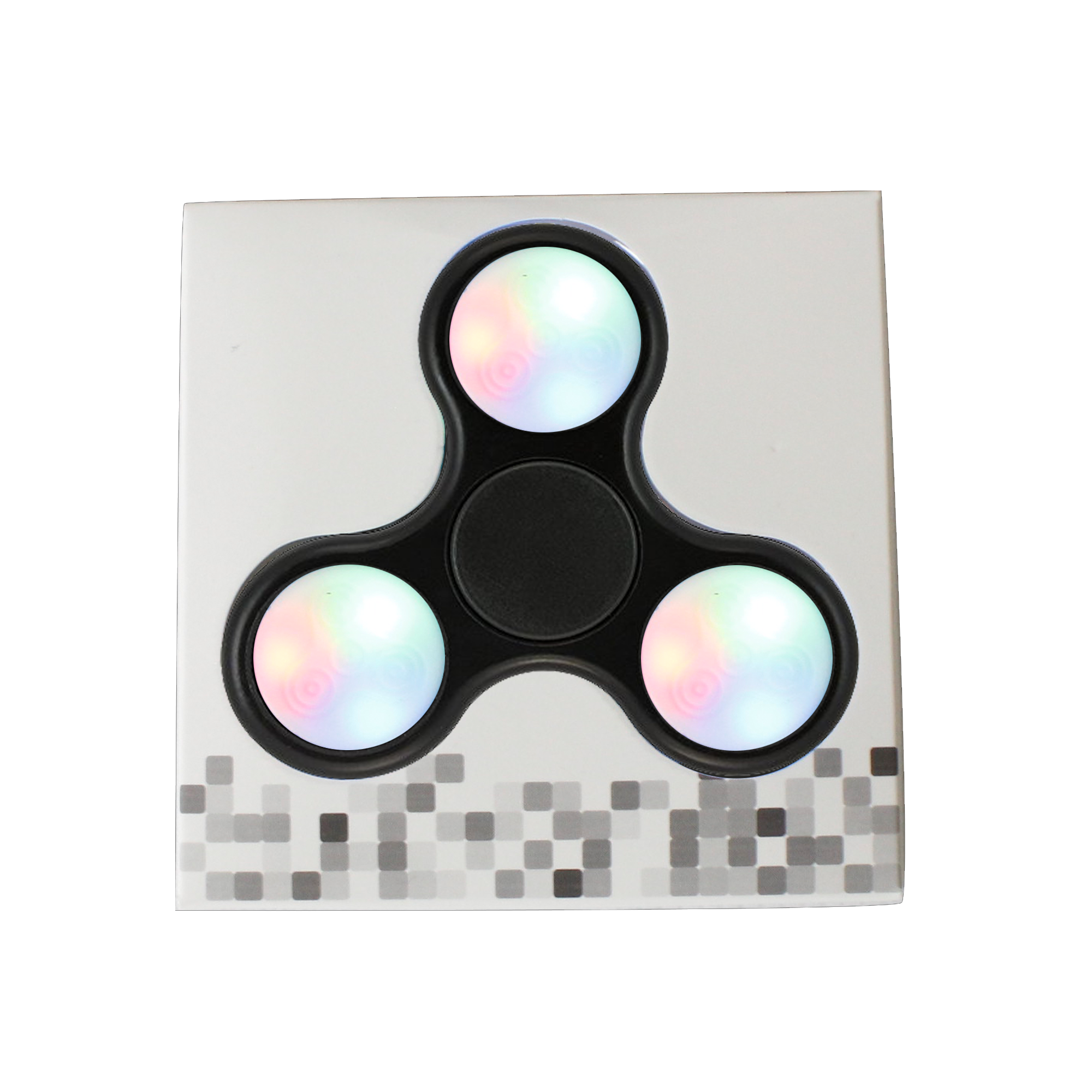 LED Push Button Finger Spinner with 9 LEDs - Black