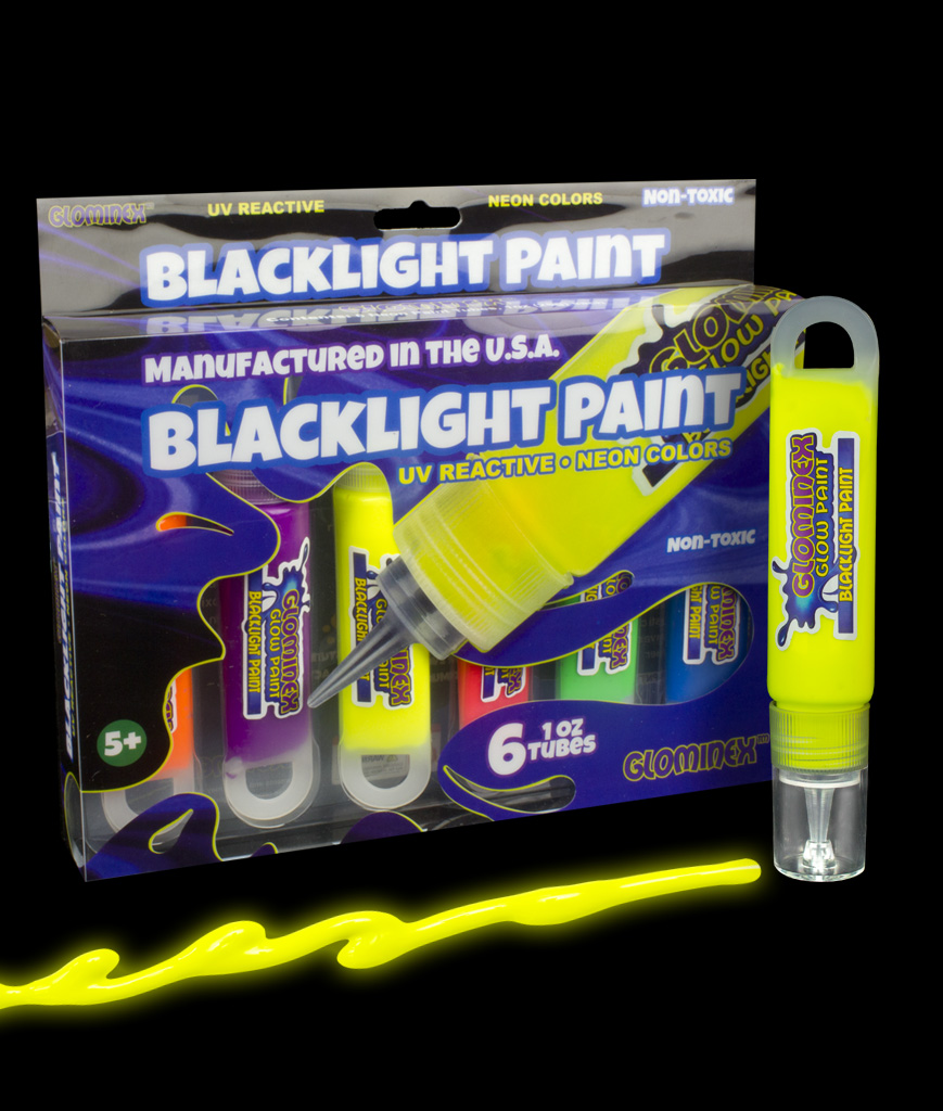 Glominex AM616 Blacklight UV Reactive Paint 1oz Tubes - Retail Ready 6 Pack