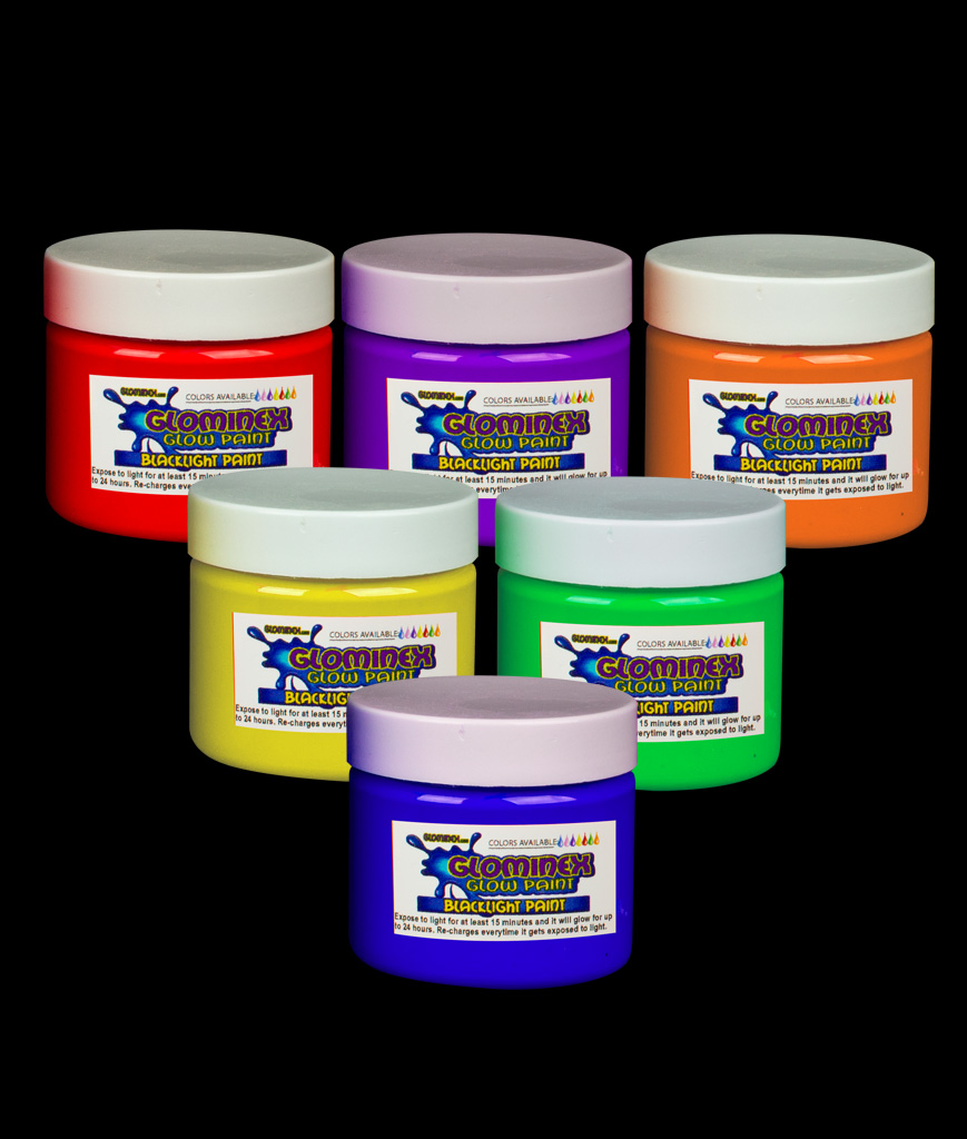 Glominex Blacklight UV Reactive Paint 2 oz Jars - Assorted