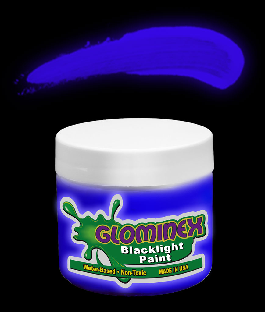 Glominex Blacklight UV Reactive Paint 4 oz Jar - Blue