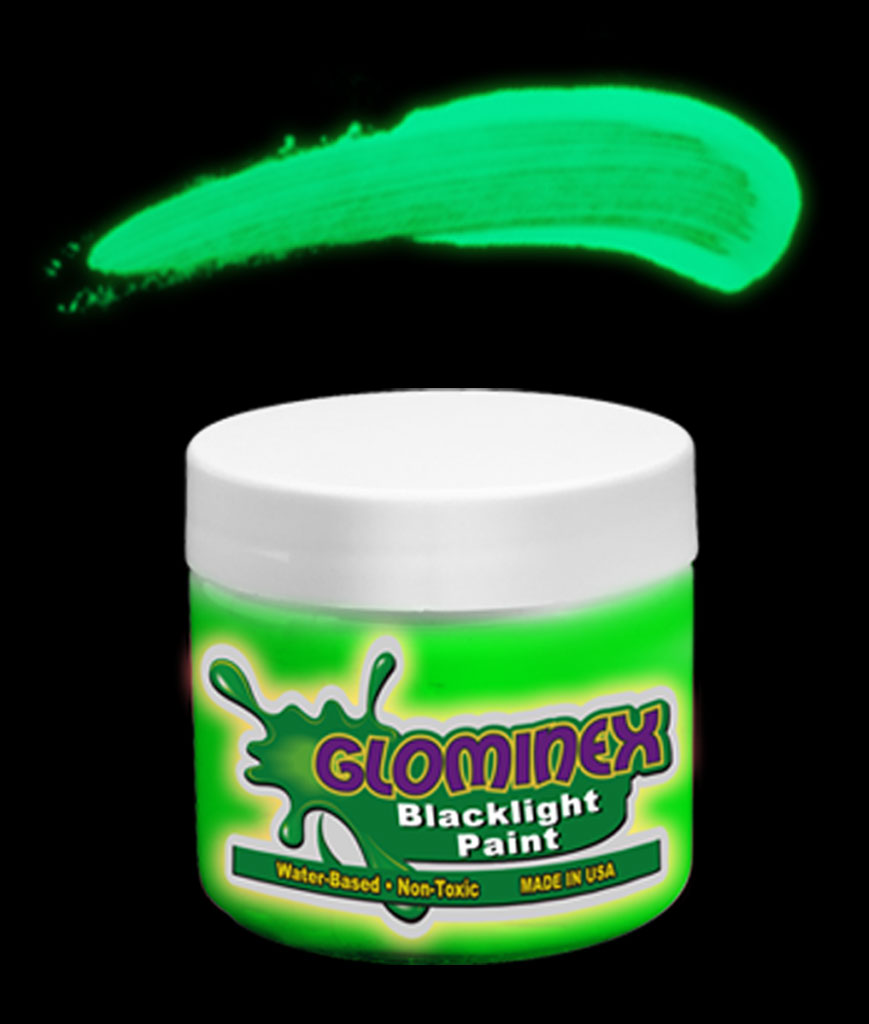 Glominex Blacklight UV Reactive Paint 4 oz Jar - Green