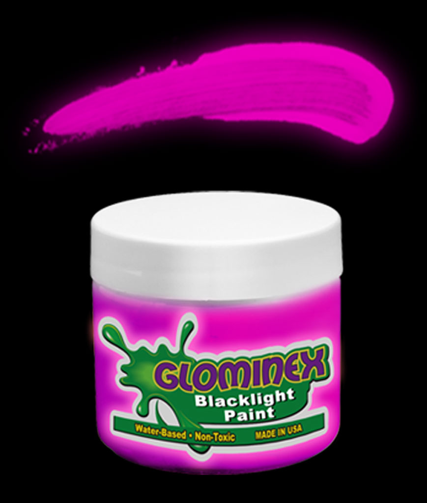 Glominex Blacklight UV Reactive Paint 4 oz Jar - Pink