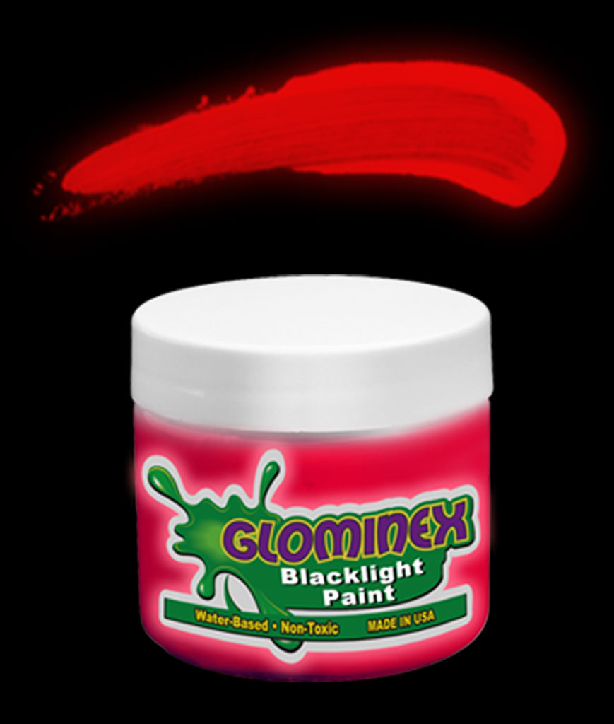 Glominex Blacklight UV Reactive Paint 4 oz - Red