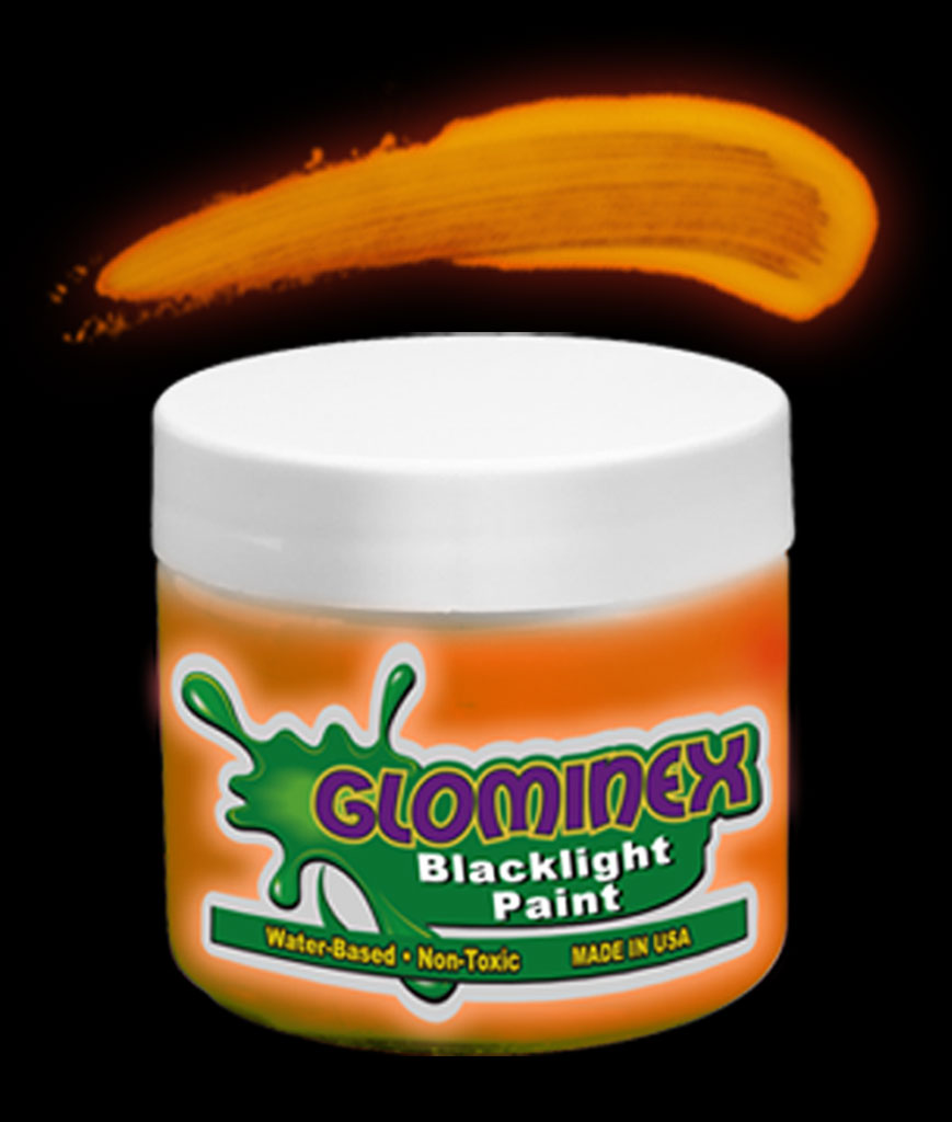 Glominex Blacklight UV Reactive Paint 8 oz Jar - Orange
