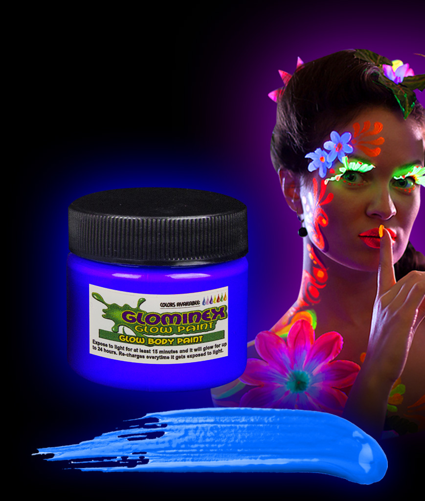 Glominex AD386 Glow in the Dark Body Paint 1oz Jar - Blue